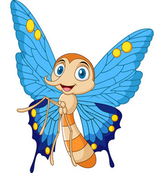 cartoon funny butterfly vector image