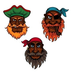 Cartoon pirate captain and sailors heads vector image