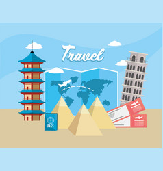Chine tower and leaning tower of pisa travel vector