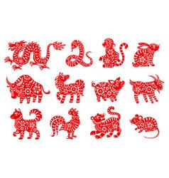 Chinese horoscope or zodiac animal symbols vector