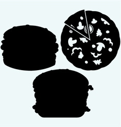Circular cut pizza and hamburger vector image