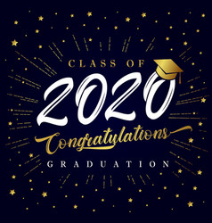Class 2020 calligraphy graduating golden card vector