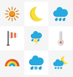 Climate flat icons set collection of temperature vector