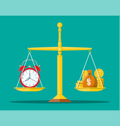 Clock and golden coins on scales vector