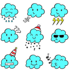 Cloud set weather style doodles vector