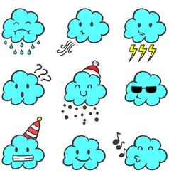 Cloud set weather style doodles vector
