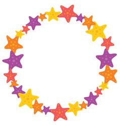 Colorful starfish wreath vector