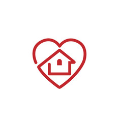 Creative heart house design logo vector