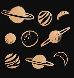 Cute solar system gold galaxy doodle sticker vector