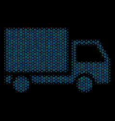 delivery lorry mosaic icon of halftone circles vector image