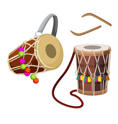Dhol types of double-headed drum and wooden sticks vector