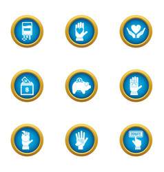 Donate welfare icons set flat style vector