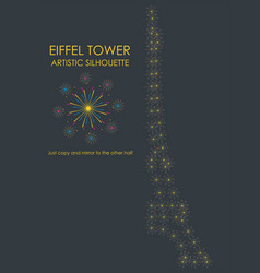 Eiffel tower artistic colored fireworks silhouette vector