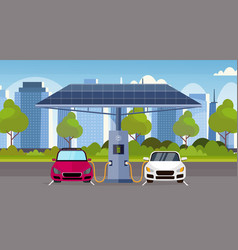 electric cars charging on electrical charge vector image