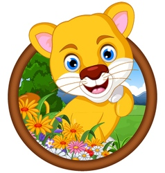 female lion cartoon in frame vector image