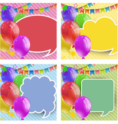 four backgrounds with balloons and flags vector image