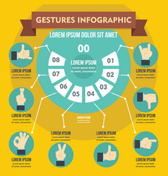 Gestures infographic concept flat style vector
