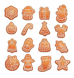gingerbread cookies christmas treat pastry vector image