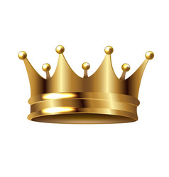 Golden crown isolated white background vector