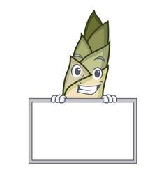 Grinning with board bamboo shoot character cartoon vector