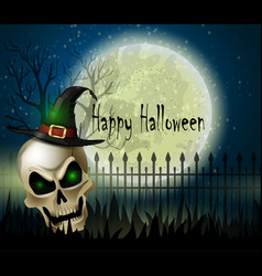 halloween background of scull on the full moon vector image