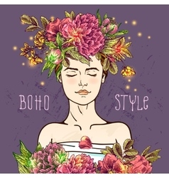 Hand drawn boho girl vector