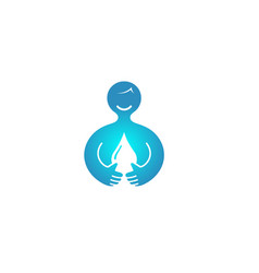 happy abstract person holding blue drop logo vector image