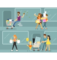 Happy shopping people with bags vector