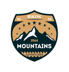 hiking adventures vintage isolated badge vector image