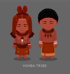 himba people in traditional costume vector image