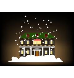 House in winter style with snow vector