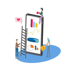 isometric icon smartphone and tiny people on vector image