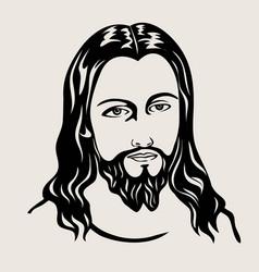 jesus face vector image
