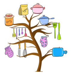 Kitchen set tree style colorful vector