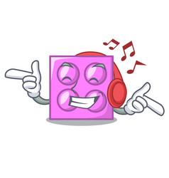 Listening music toy brick mascot cartoon vector