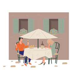 man and woman on date in restaurant drinking wine vector image