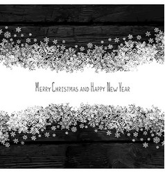 Merry Christmas and Happy New Year Snowflakes line vector image