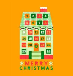 Merry christmas cartoon house advent calendar vector