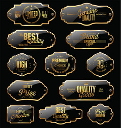 Metal plates premium quality gold and black vector