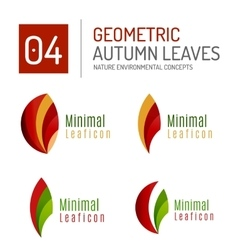Modern geometric autumn leaf icons vector