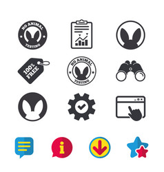 No animals testing icons non-human experiments vector