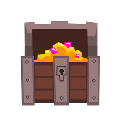 opened treasure chest full of golden coins and vector image