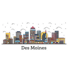 Outline des moines iowa city skyline with color vector
