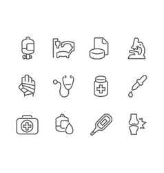 Outline Medical Icons vector image