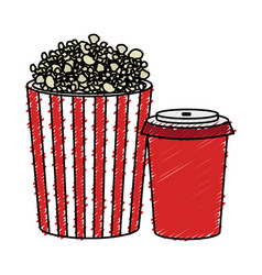 pop corn and soda isolated icon vector image