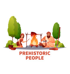 Prehistoric people flat composition vector