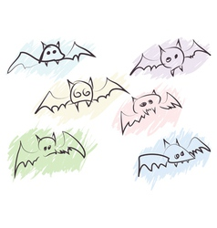 quick handdrawn bats vector image