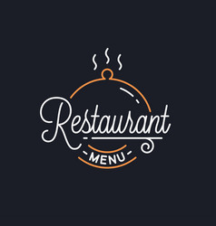 Restaurant menu logo round linear tray cloche vector