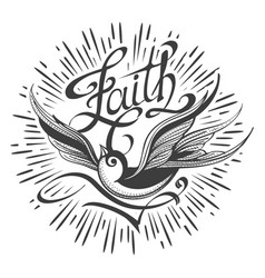 Retro tattoo with swallow and lettering faith vector