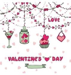 Romantic cardHeart garlandsletteringdecor vector image